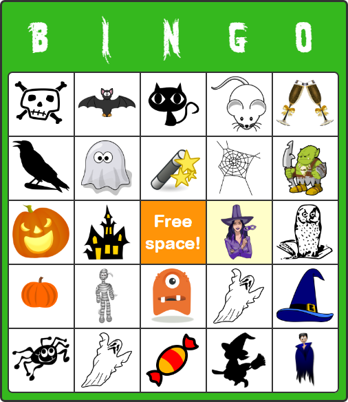 Free Halloween Bingo Cards for Kids - No Software or Signup